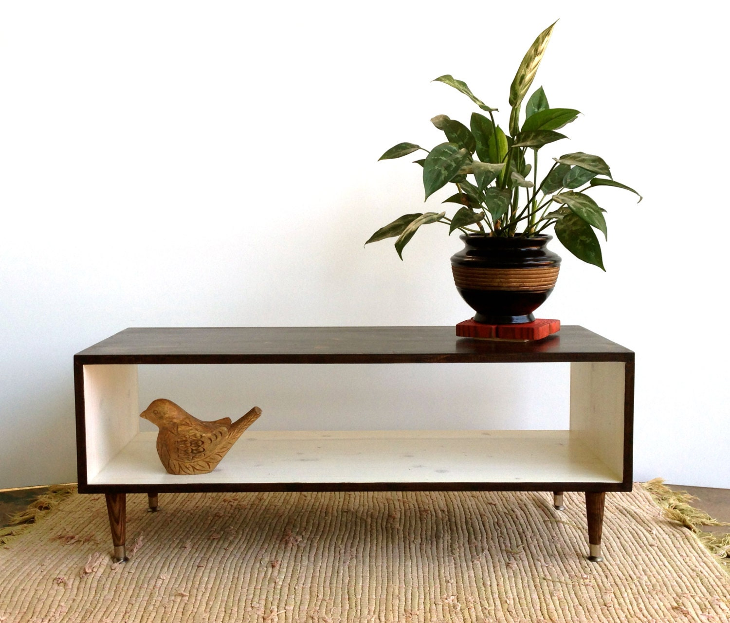 Handmade coffee table mid century modern white by tinylionsdesigns Handcrafted coffee table