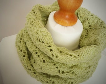 Apple Green Lace Knit Snood Infinity Scarf - Mens or Womens Hand Dyed Organic Accessory - Naturally Dyed - Ready to Ship