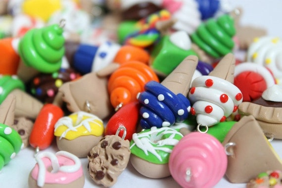 Polymer Clay Dessert Charms, Set of 10