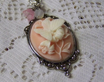 Cameo Pendant - Dark Peach Butterfly - Neo Victorian Jewelry - Butterflies & Flowers - Pink and white - Botanical jewelry