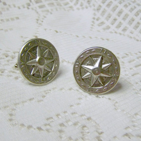COMPASS ROSE Cuff links - Silverplate - Steampunk - Vintage Style - Formal Wear -  Complimentary USA Shipping