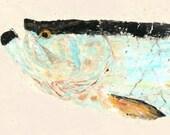 "Tarpon - ""Silver King II"" - Gyotaku Fish Rubbing - Limited Edition Print (33 x 12.5)"