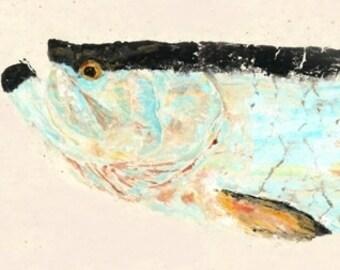"Tarpon - ""Silver King II"" - Gyotaku Fish Rubbing - Limited Edition Print (36 x 13.5)"