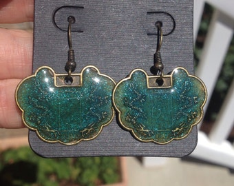 Shimmery Teal Brass Coin Resin Earrings