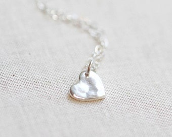 Tiny Hammered Heart Necklace Sterling Silver