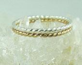 Silver Stacking Ring / Stacked Ring / Wedding Ring / Twist Ring / Thumb Ring / Wedding Sale