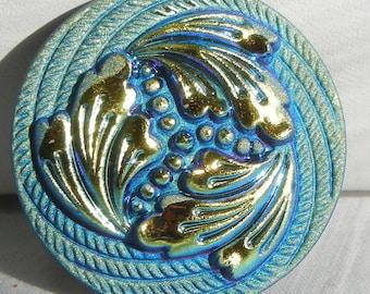 Three Feathers Czech Glass Button