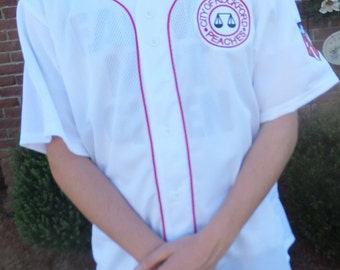 """Men's  XLarge (Chest 46""""-48"""") White polyester Baseball Jersey with red trim and Patches.  League of Their Own"""