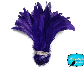 Rooster Tail Feathers, 1/2 Yard -  EGGPLANT Strung Natural Bleach Coque Tails Wholesale Feathers (bulk) : 3376