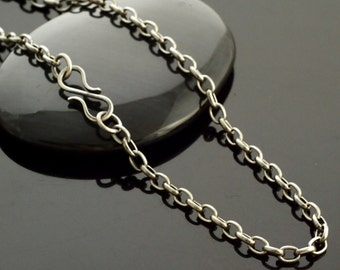 Antique Silver Plated Chain - 3.4mm Oval Rolo - You Pick Length - Finished with Lobster or Handmade Silver Filled S Clasp or Unfinished