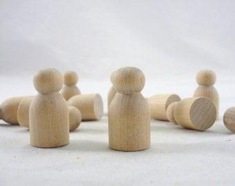 Wooden baby mini peg people unfinished DIY set of 12