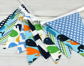 Bunting Fabric Banner, Fabric Flags, Nautical Nursery Decor, Birthday Decoration - Navy Blue, Lime Green Whales and Chevron