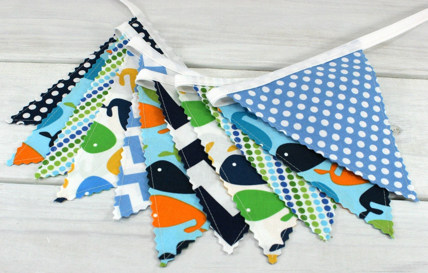 Bunting fabric banner fabric flags nautical nursery decor for Nautical nursery fabric