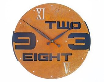Outnumbered I, Large Wall Clock, Rustic Wall Clock, Unique Wall Clock, Industrial Metal Art, Steampunk Home Decor, Modern, Big, Laser Cut