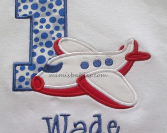 Airplane Birthday Shirt  Royal Blue and Red  Monogrammed Free