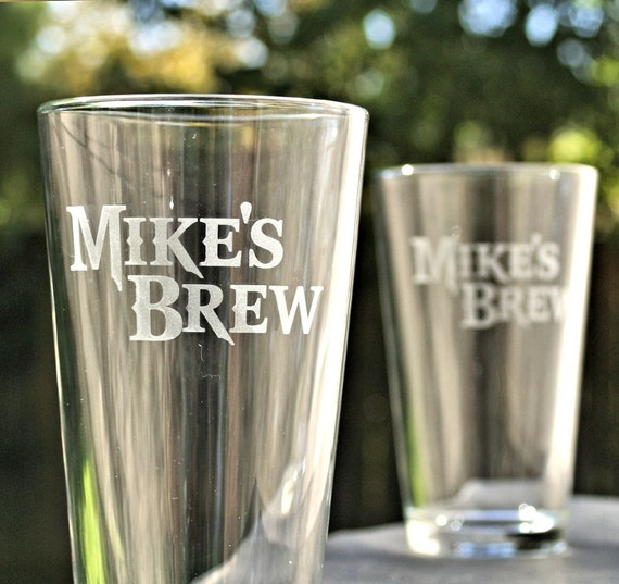 Pint Glasses Groomsmen Gift Etched Glass By ScissorMill On
