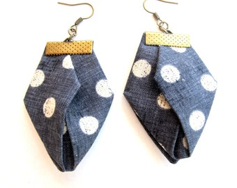 Polka dot geometric earrings, gray origami geometric earrings, handmade geometric dangles, geometric jewelry