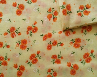 Vintage Fabric 80's Cotton, Floral, Yellow, Orange, Printed, Material, Textiles