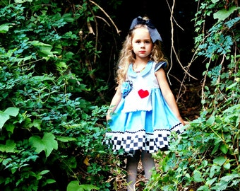 Whimsical Alice in Wonderland Costume Dress Twirly Boutique Apron Dress