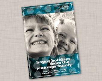 Teal Holidot Photo Holiday Card (Vertical)