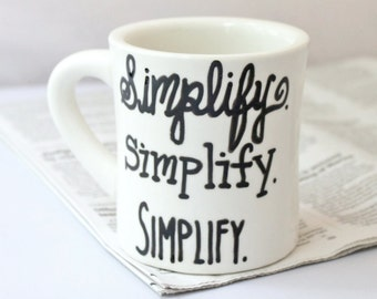 Simplify Coffee Mug tea cup diner mug black white