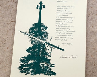 "Letterpress Poetry Print - ""Cello"" - poet Dorianne Laux, art & design by Jim Cokas"