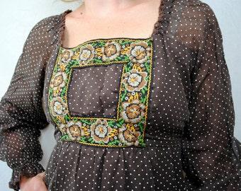 Vintage 1970s Roberta Polka Dot Maxi Dress