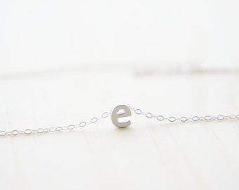 "Silver Letter, Alphabet, Initial  ""e"" necklace, birthday gift, lucky charm"