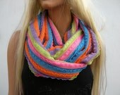 Rainbow colors ruffle infinity scarf,Pink Blue Orange  Chunky colorful ruffled scarf Cowl ,Necklace scarf Circle/loop  scarf -Tube version