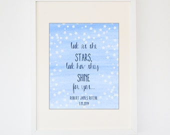 Coldplay's Look at the Stars Baby Print , Birth Announcement , Birth Print , Nursery Print , Personalized Baby Print, Watercolor