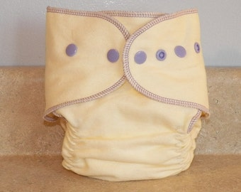 Fitted Small Cloth Diaper- 6 to 12 pounds- Lavender and Cream