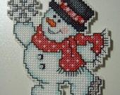 Cross Stitched SNOWMAN 2013 No. 4 CHRISTMAS ORNAMENT