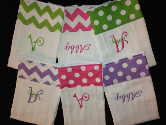 Personalized Baby Burp Cloth Set of 6 Cloths Monogrammed