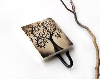 Curly Tree Art Key Hook, Brown Decor, Wall Hook Home Organization, Key Holder, Fantasy, Decorative Tile Key Rack Earthtone