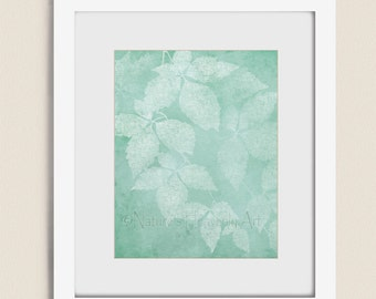 Sea Foam Green Nature Artwork for Home and Office, 11 x 14 Bedroom Wall Art Leaf Print, Living Room Decor (126)