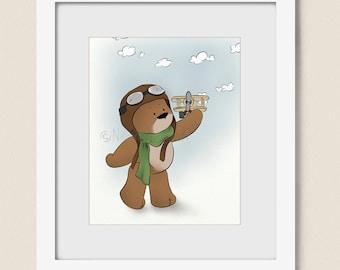 Cute Childrens Wall Art Baby Nursery Print, 8 x 10 Artwork kids Room, Teddy Bear Boys Wall Decor (287)