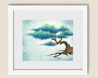Aqua Blue Living Room Wall Art Tree Print 8 x 10, Turquoise Bonsai Tree Wall Art for Home Decor (304)