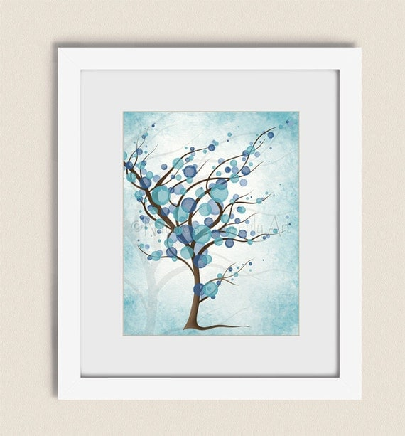 11 x 14 living room art peaceful blue tree wall art print for Living room 11 x 14