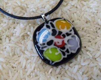 Black colorful  Fused  Glass Handpainted flower pendant