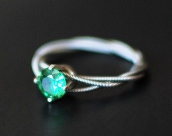 Guitar String Engagement or Purity Ring, May Birthstone,Triple Wrapped, 6mm  Green Cubic Zirconium with Sterling Silver Setting