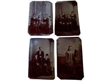 Post Civil War Chocolate Tintypes. Family Grouping. Four Photos.  Circa 1875.