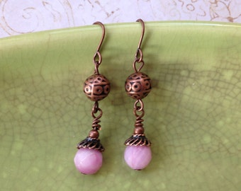 small copper/pink earrings