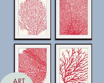 Underwater Sea Coral Collection (Series C) Set of 4 - Art Prints (Featured in Ruby Red and Soft Cream)