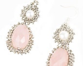 Art Deco Inspired Pink Chalcedony, Freshwater Pearl and Sterling Silver Bead woven Earrings