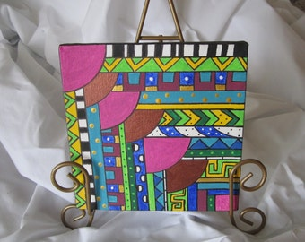 Small Geometric Acrylic Original Painting Copper Pink Green Yellow Blue