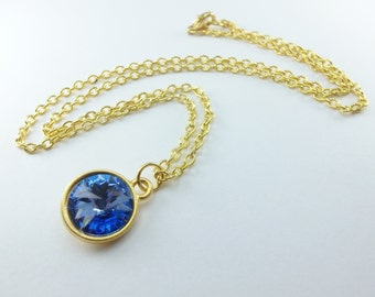 Light Sapphire Necklace September Birthstone Yellow Gold Crystal September Birthday Necklace Light Blue Modern Crystal