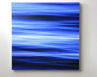 Bright Ocean Blue, Abstract Water, Seascape, Beach Decor, 20X20 Wood Panel, Modern Wall Art, Wall Hanging, Ready to Hang