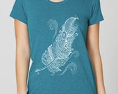 White Feather on American Apparel tri blend in tri evergreen by Chill Clothing Co