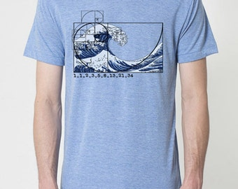 Fibonacci Spiral by Chill Clothing Co printed on 50/50 blend Athletic Blue Heather t shirt