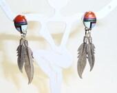 Reserved for Vennesa Sterling Silver Native American Multi Gemstone Dangle Earrings on Etsy
